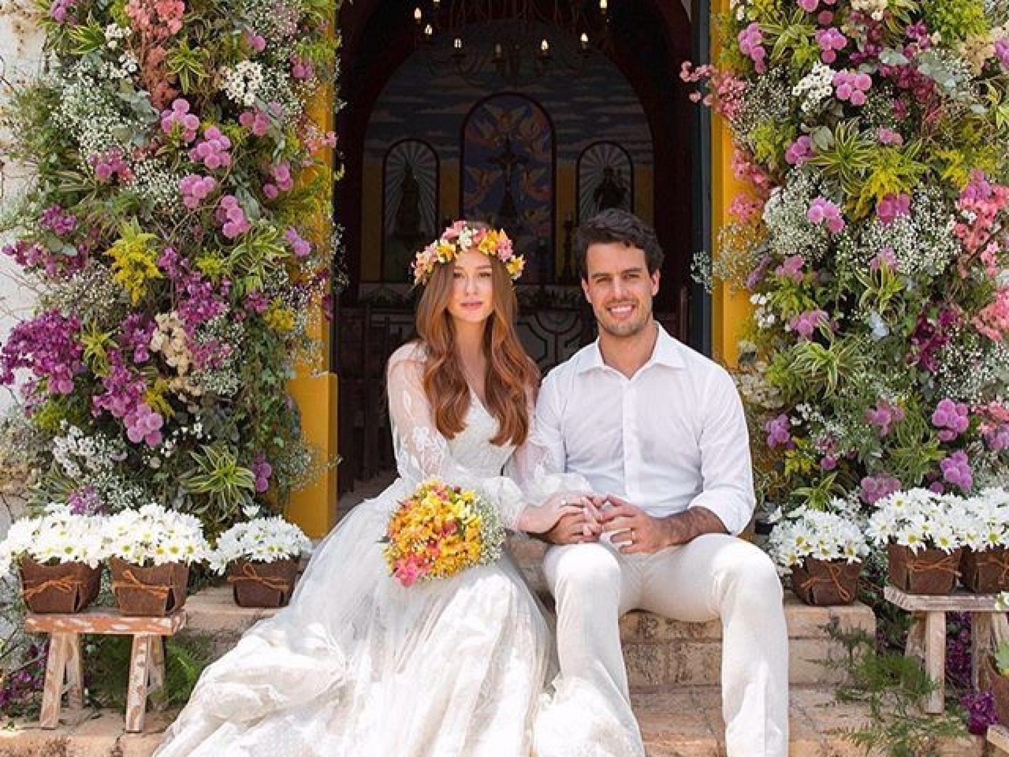 O vestido do casamento religioso de Marina Ruy Barbosa